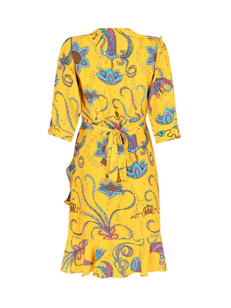 Flamenco Bird Mini Dress Yellow