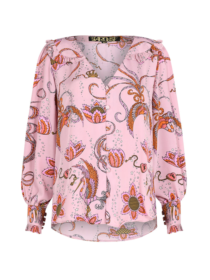 Frangipani Bird Long Sleeved Blouse Pink