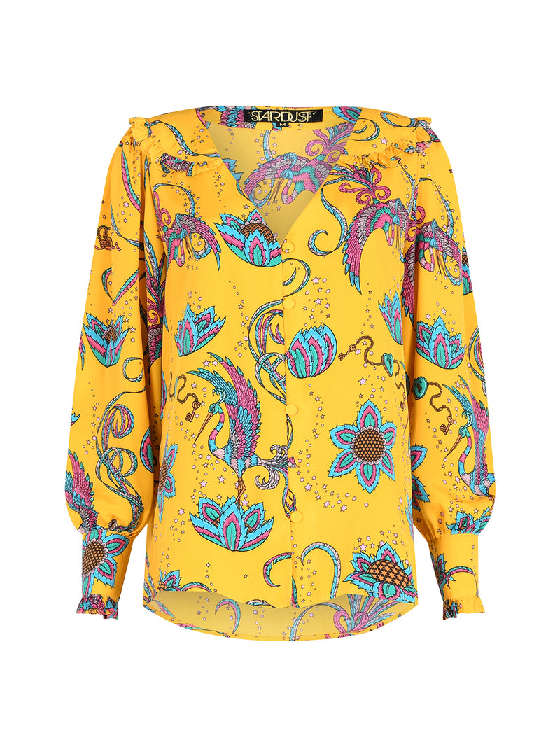 Frangipani Bird Long Sleeved Blouse Yellow