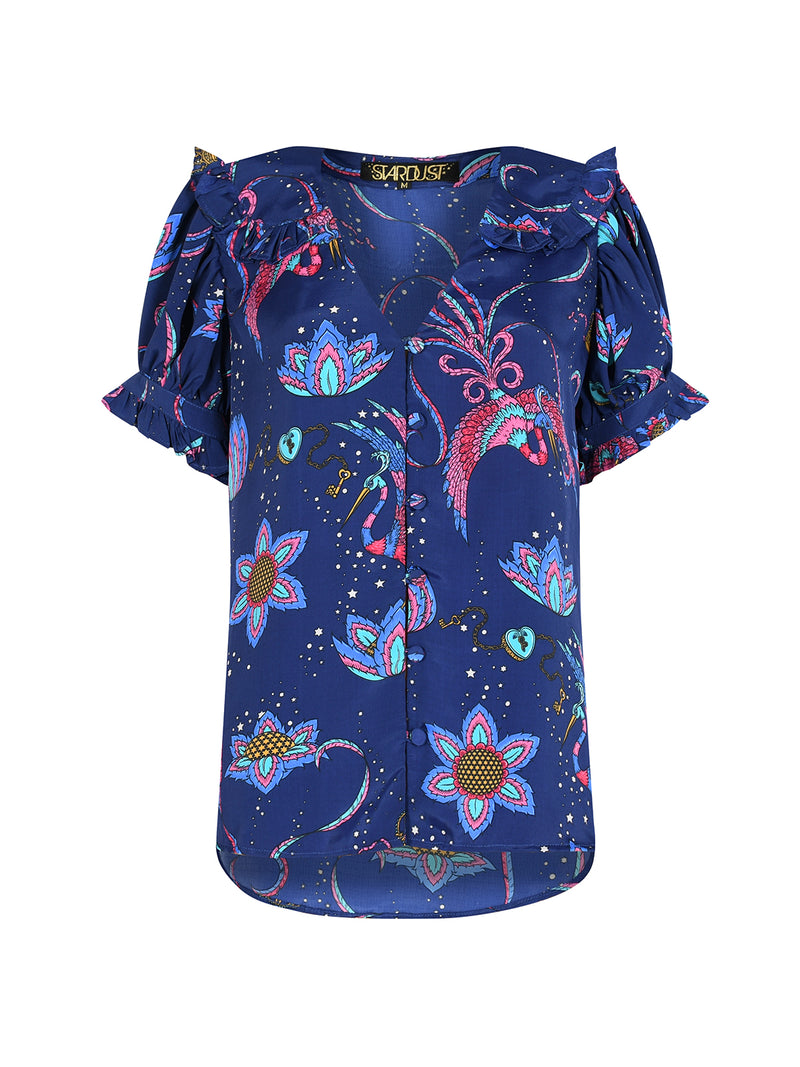 Frangipani Bird Short Sleeved Blouse Navy