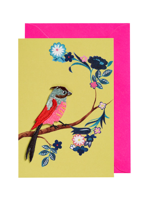 Embroidered Bird Iron on Patch Card