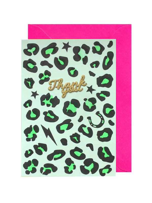 Green Leopard Thank You Card