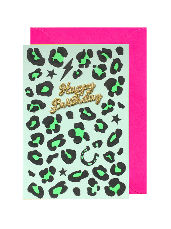 Green Leopard Happy Birthday Card