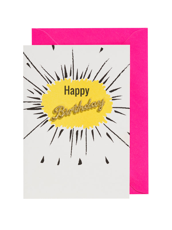 Embroidered Yellow Happy Birthday Card