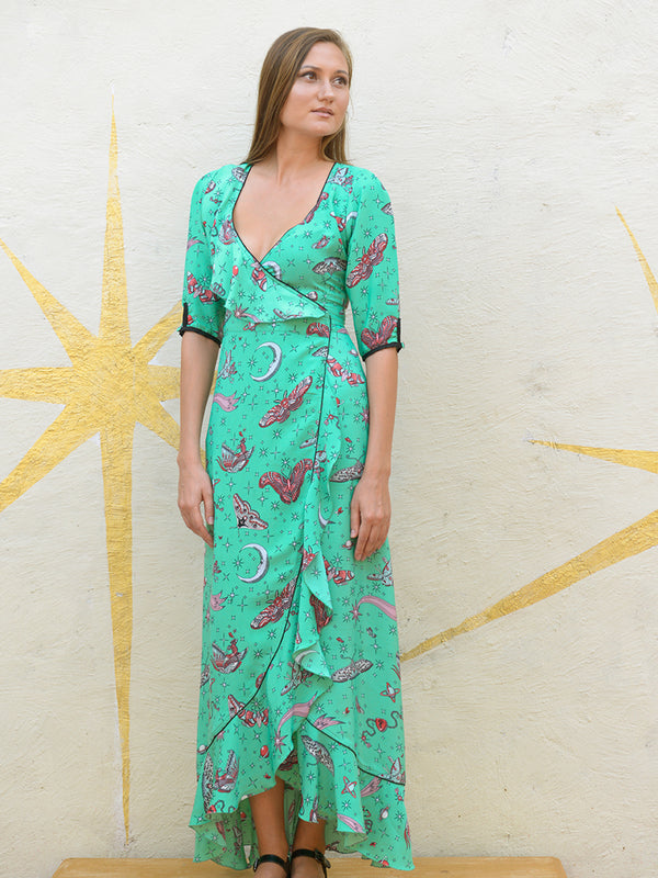 Moth Flamenco Maxi Dress Emerald