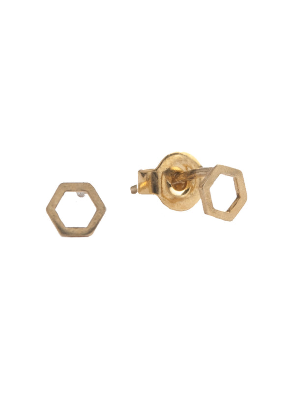 Petite Gold Hexagon Earrings