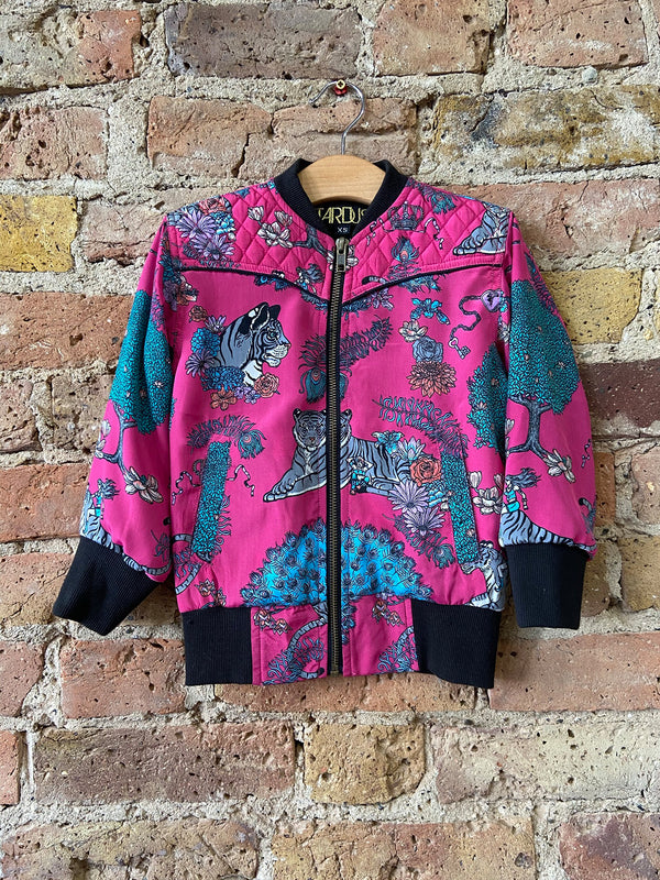 Kids Tiger Bomber Jacket Hot Pink