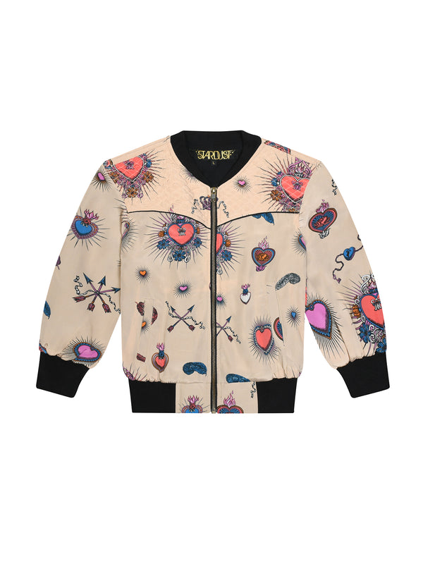 Kids Heart Bomber Jacket Beige
