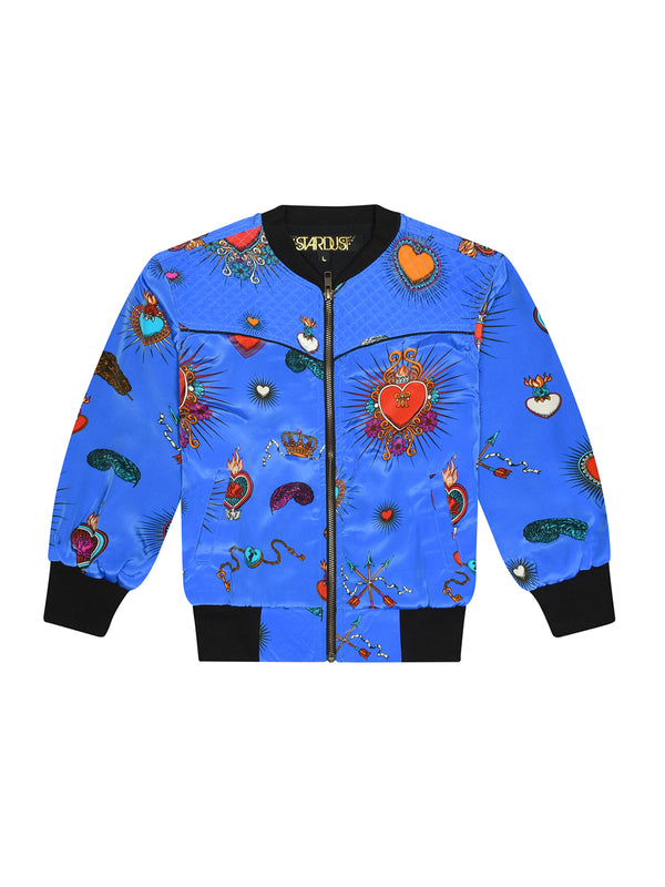 Kids Heart Bomber Jacket Blue