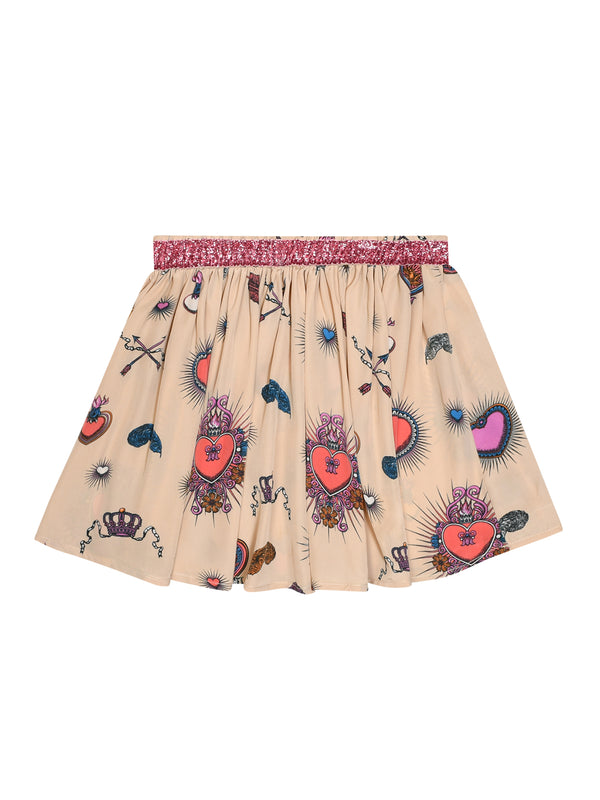 Kids Heart Skirt Beige & Pink