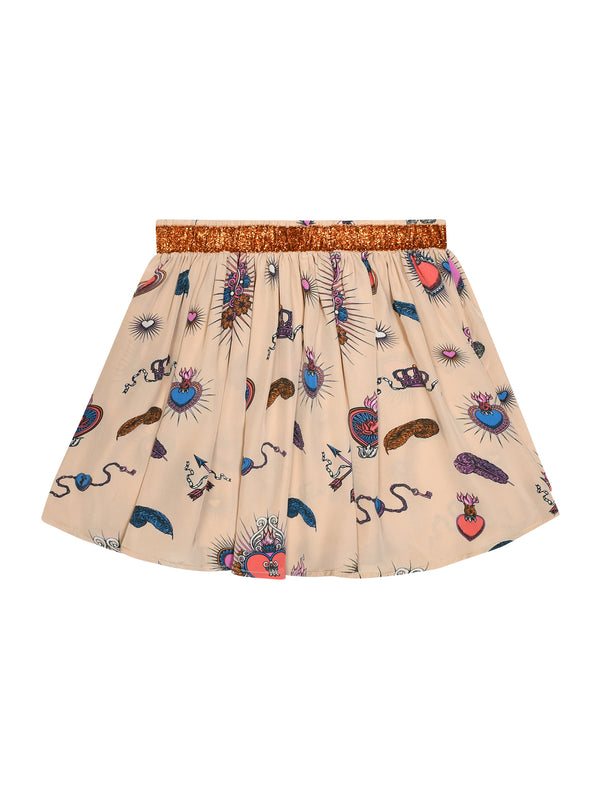 Kids Heart Skirt Beige & Orange