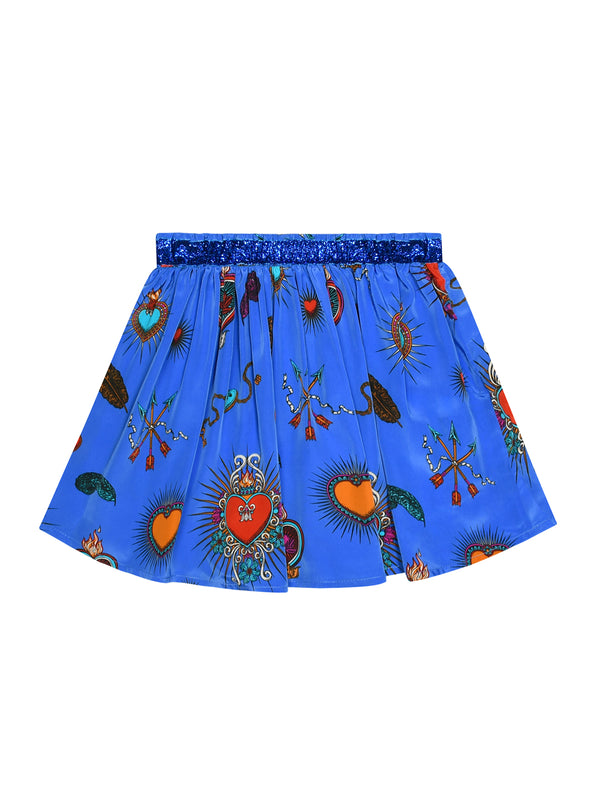 Kids Heart Skirt Blue