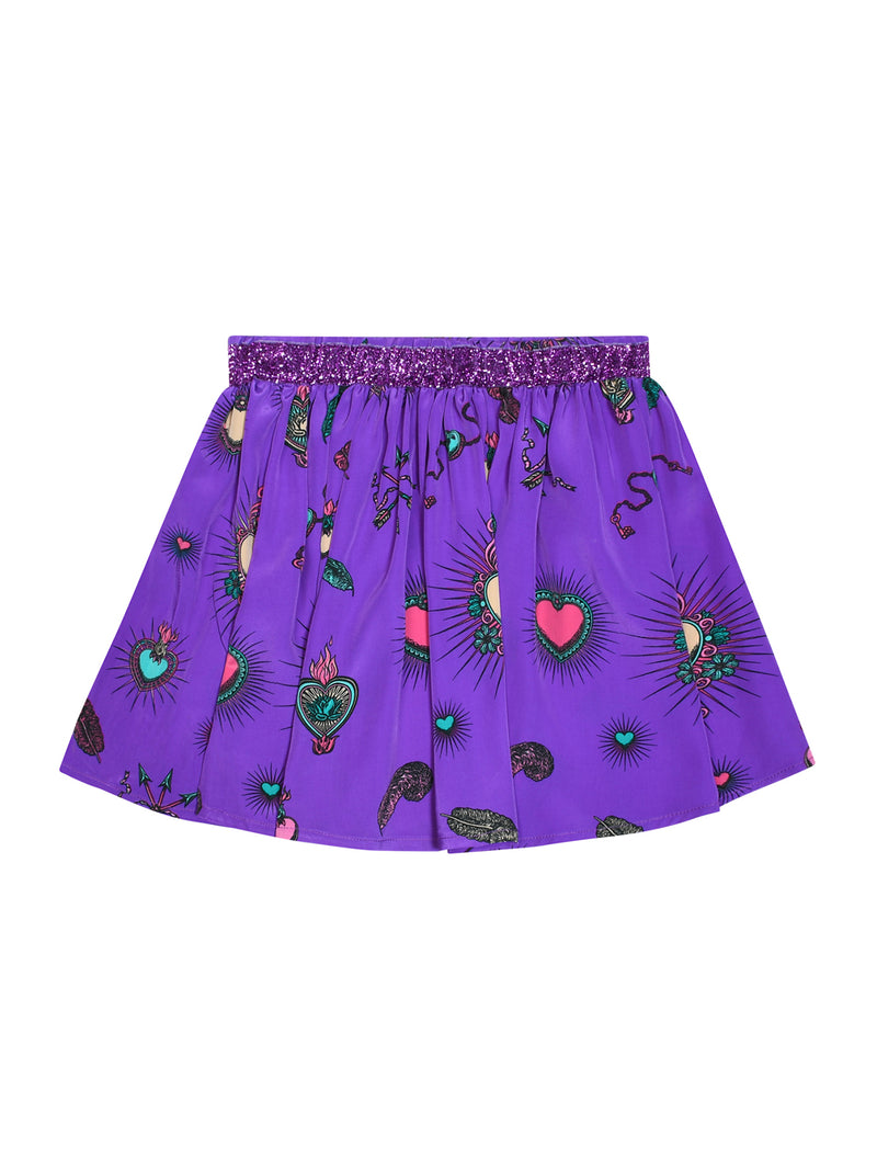Kids Heart Skirt Purple