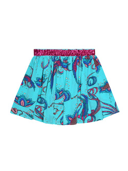 Kids Bird Skirt Teal