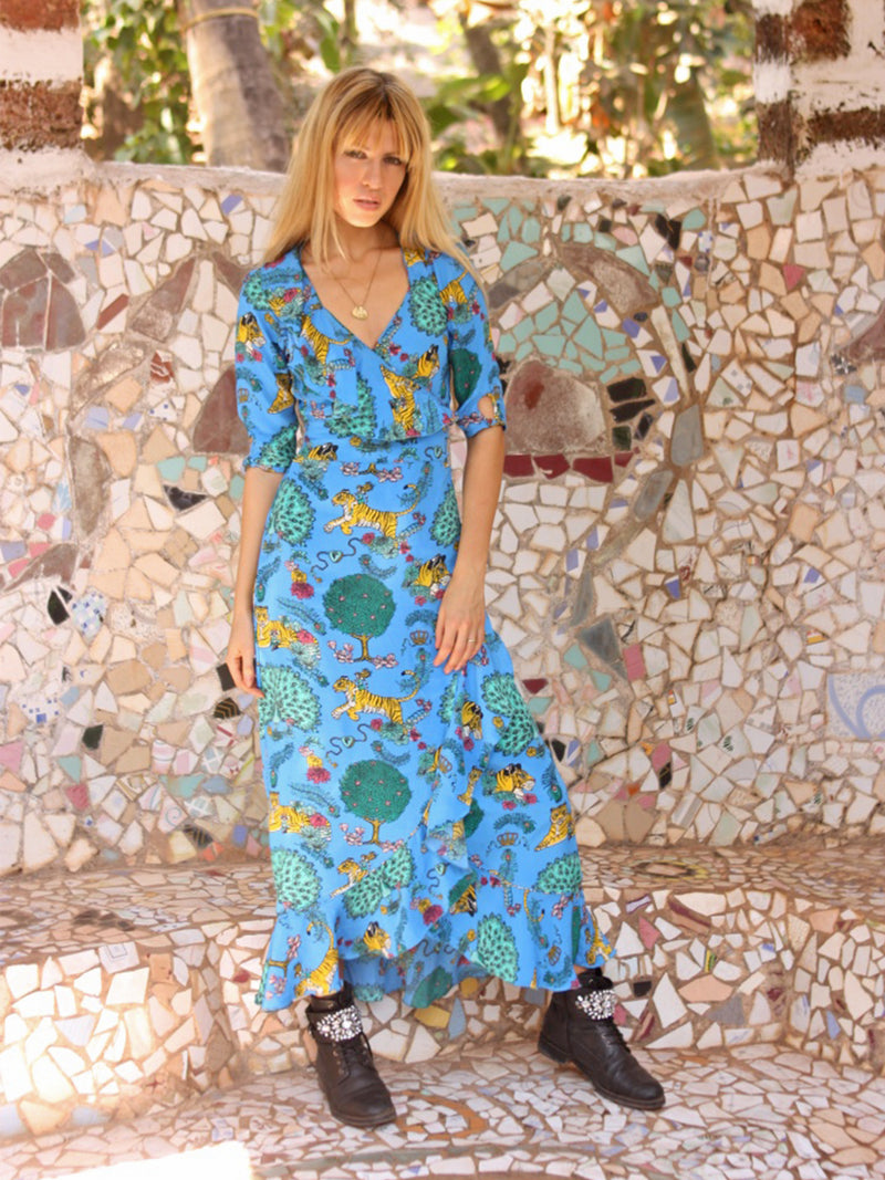 Tiger Flamenco Maxi Dress Electric Blue