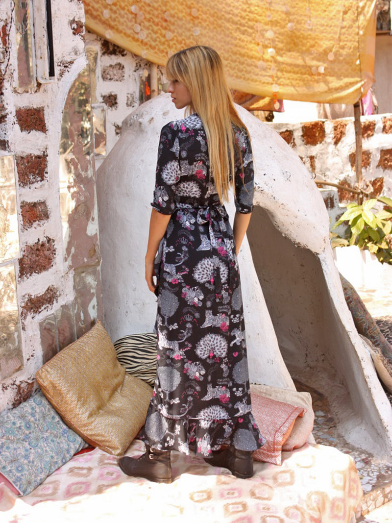 Tiger Flamenco Maxi Dress Black & Grey