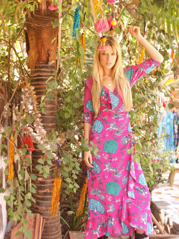 Tiger Flamenco Maxi Dress Hot Pink