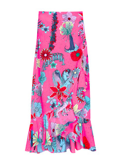 Floral Mia Wrap Skirt Pink