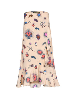 Mia Heart Wrap Skirt Beige