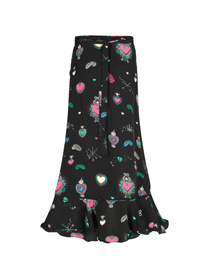Mia Heart Wrap Skirt Black & Multicolour