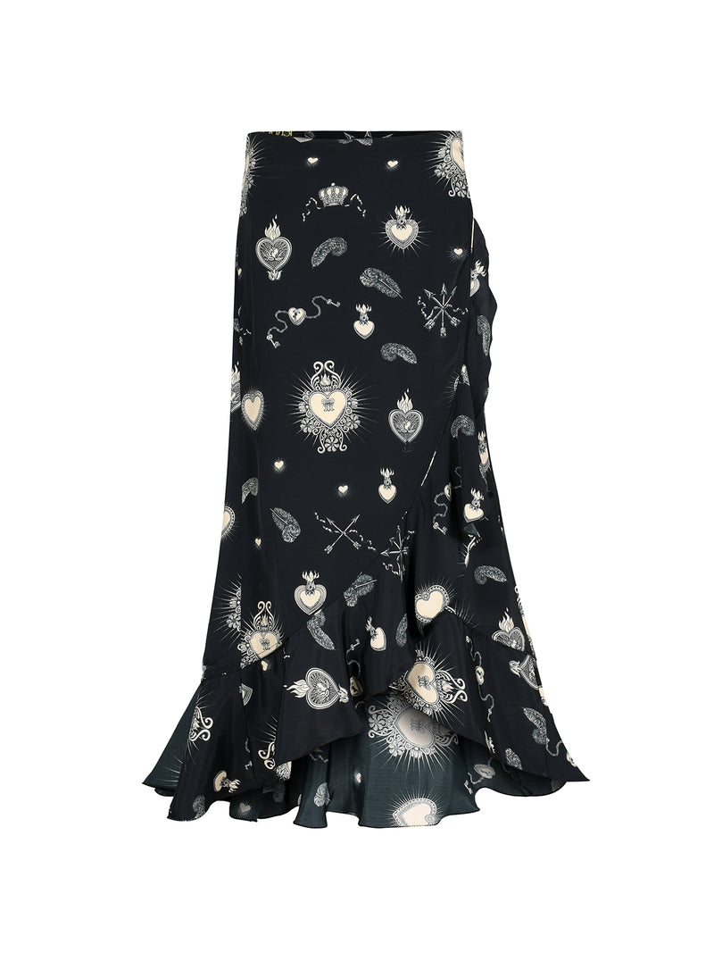 Mia Heart Wrap Skirt Black & Nude