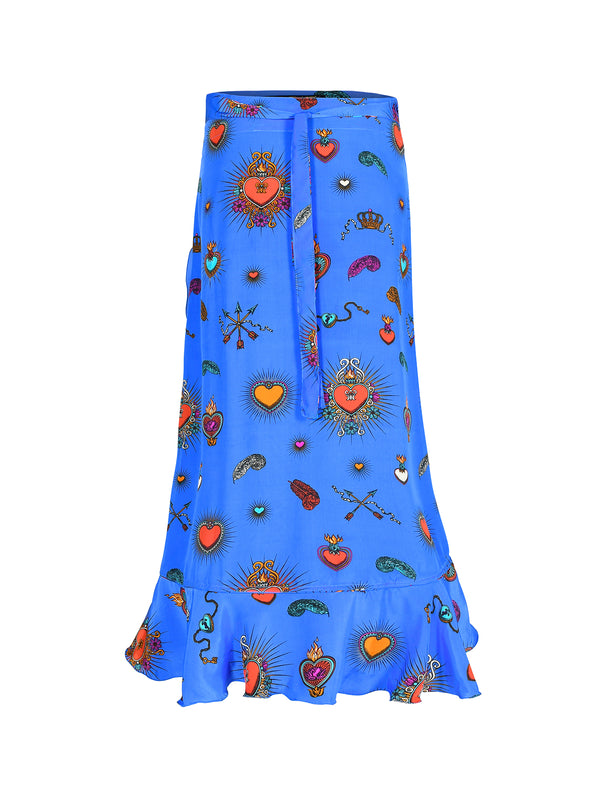 Mia Heart Wrap Skirt Cornflower Blue