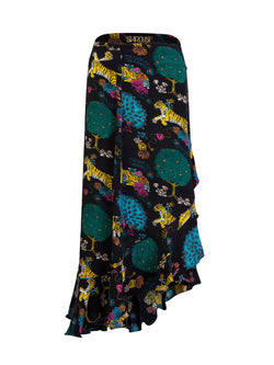 Tiger Mia Wrap Skirt Black Multicolour
