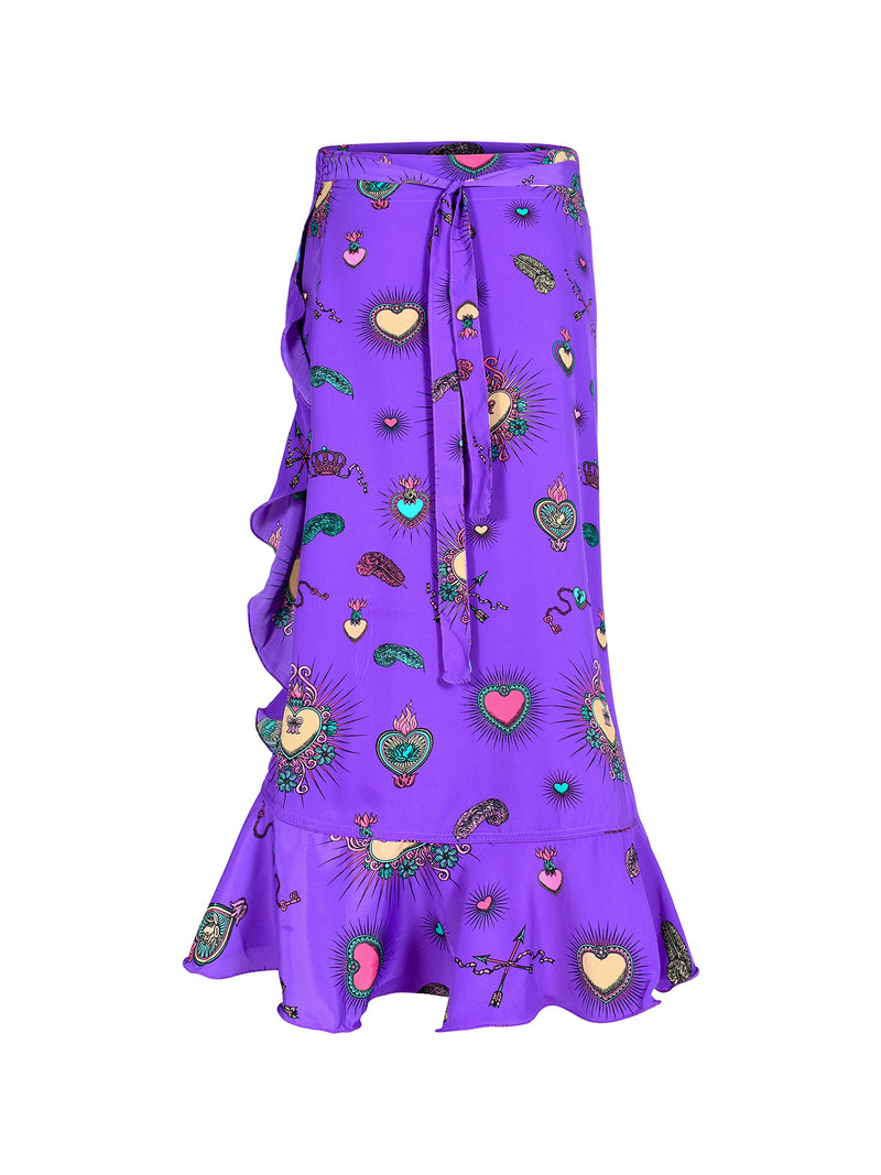 Mia Heart Wrap Skirt Purple
