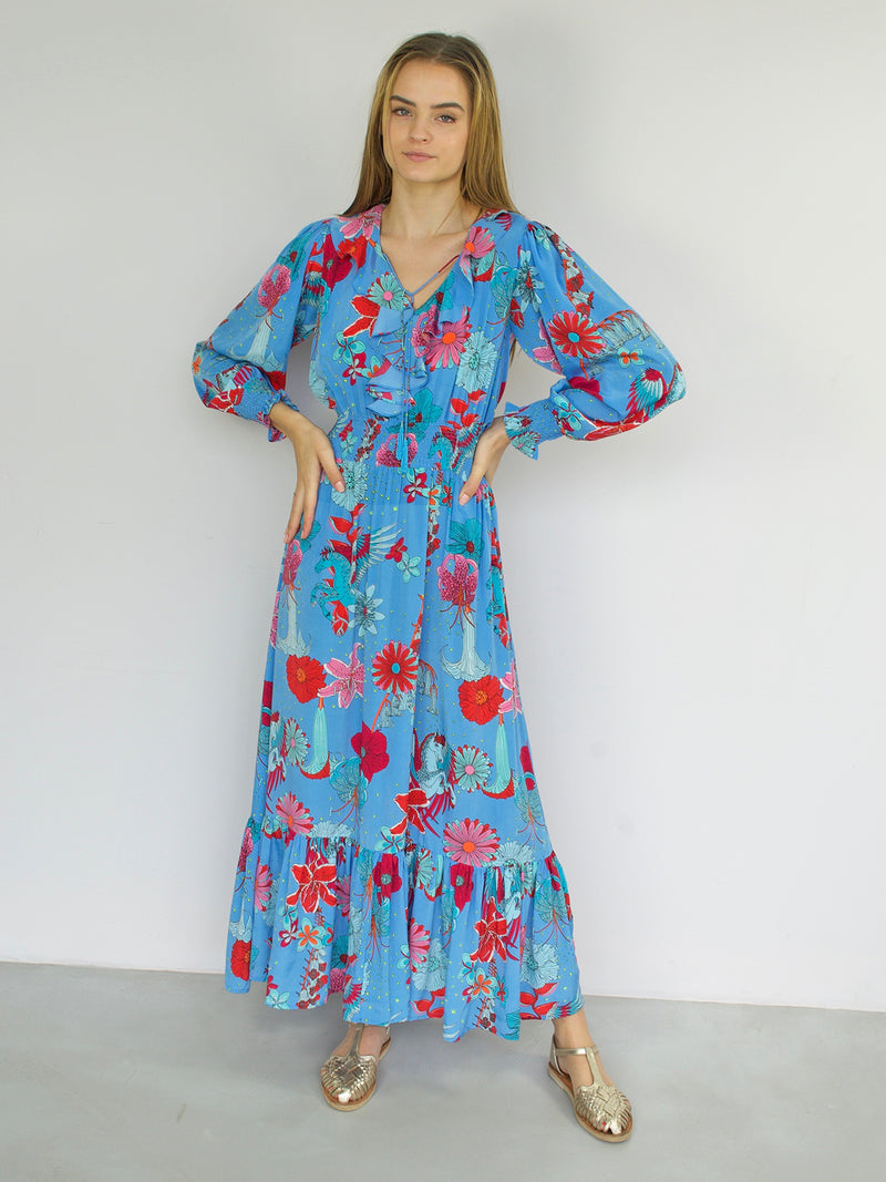 Floral Miranda Maxi Dress Blue
