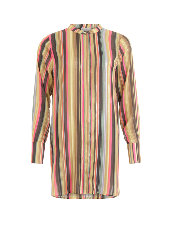 Longline Multi Stripe Sparkle Shirt
