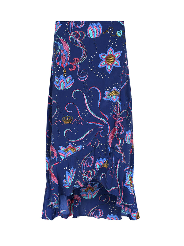 Mia Bird Wrap Skirt Navy