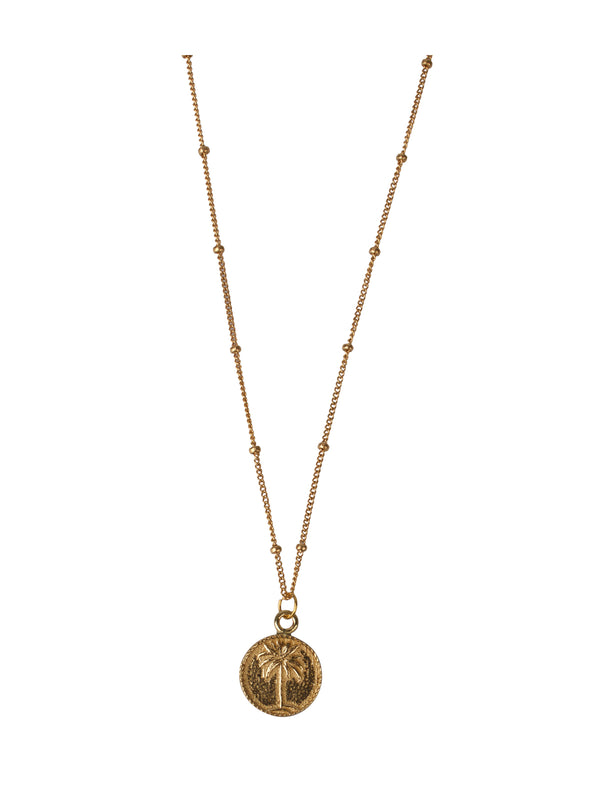 Small Palm Tree Coin Necklace