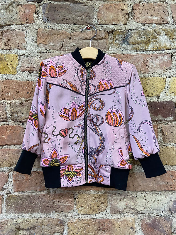 Kids Bird Bomber Jacket Pink