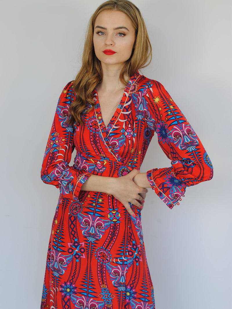 Tribal Pleated Dress Electric Sunset