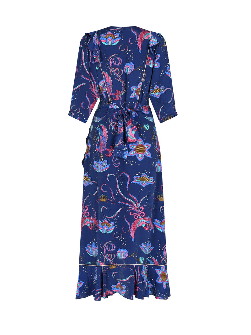 Penelope Bird Midi Dress Navy