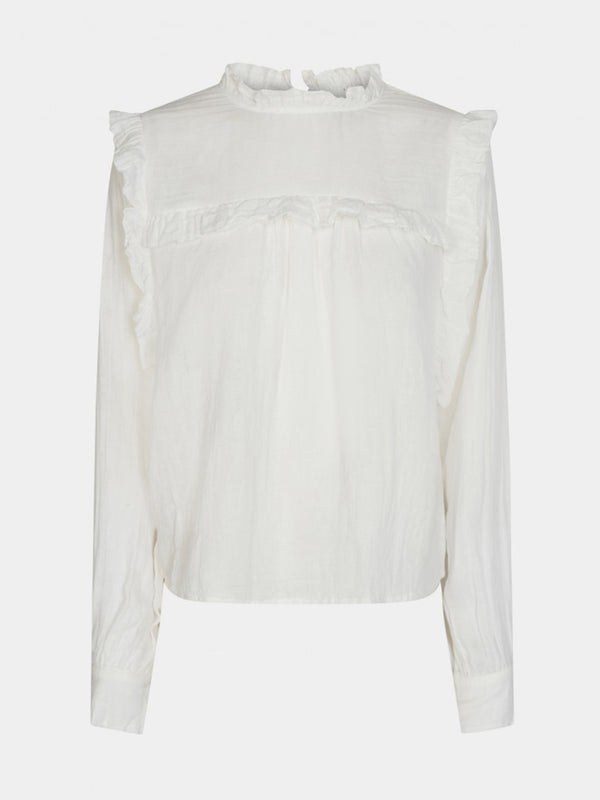 Off White Ruffle Blouse