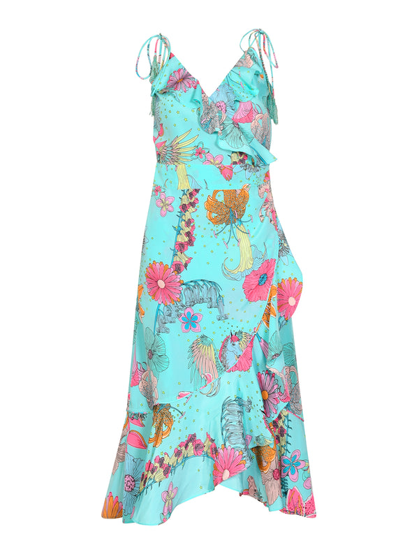 Floral Sassafrass Midi Dress Teal