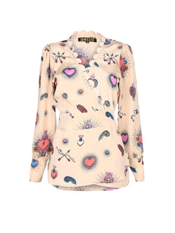 Scallop Heart Wrap Blouse Beige