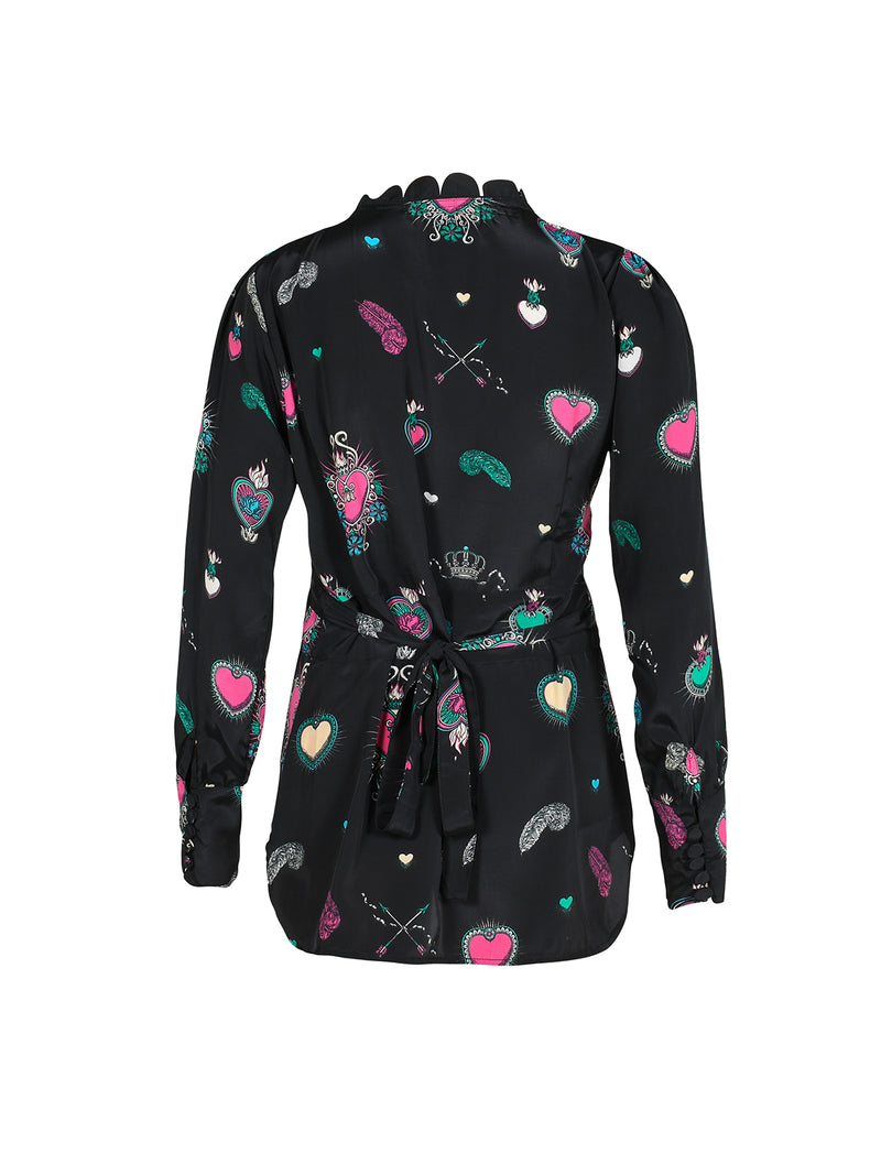 Scallop Heart Wrap Blouse Black & Multicolour
