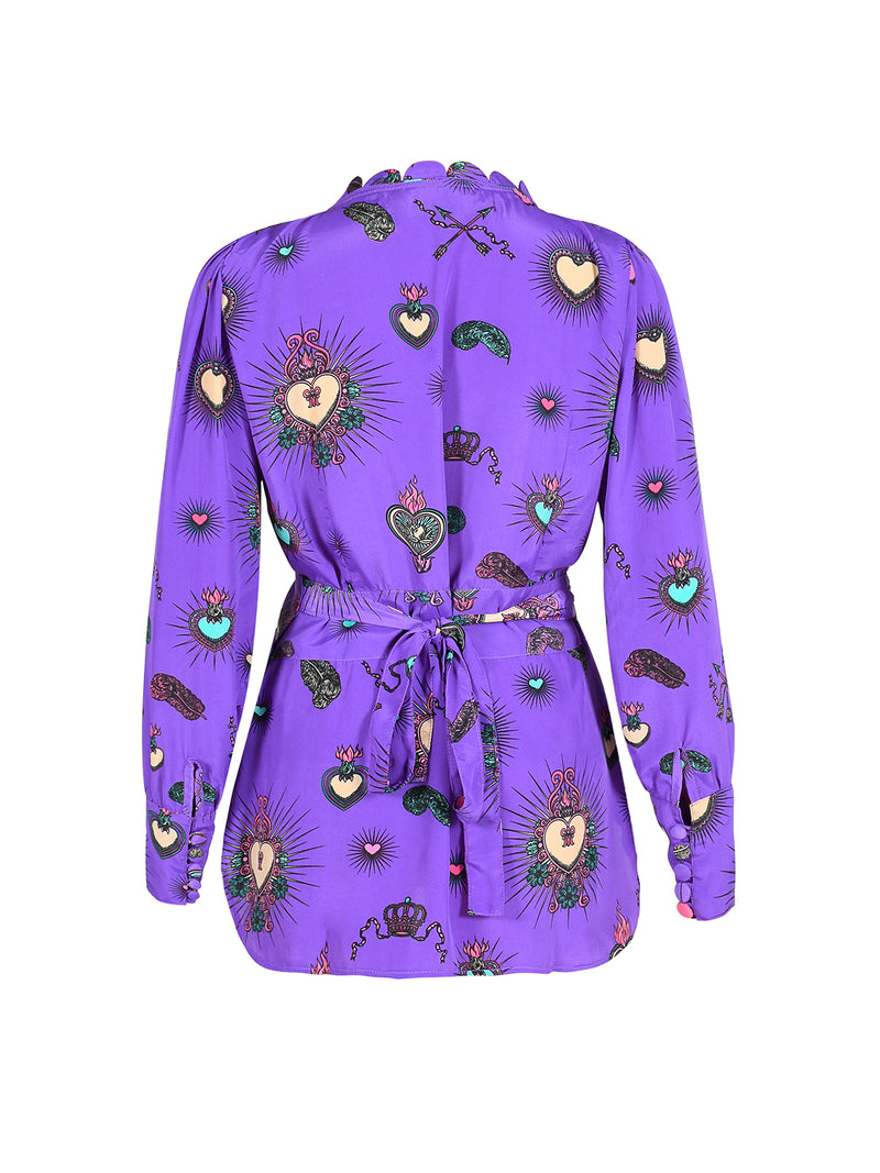 Scallop Heart Wrap Blouse Purple