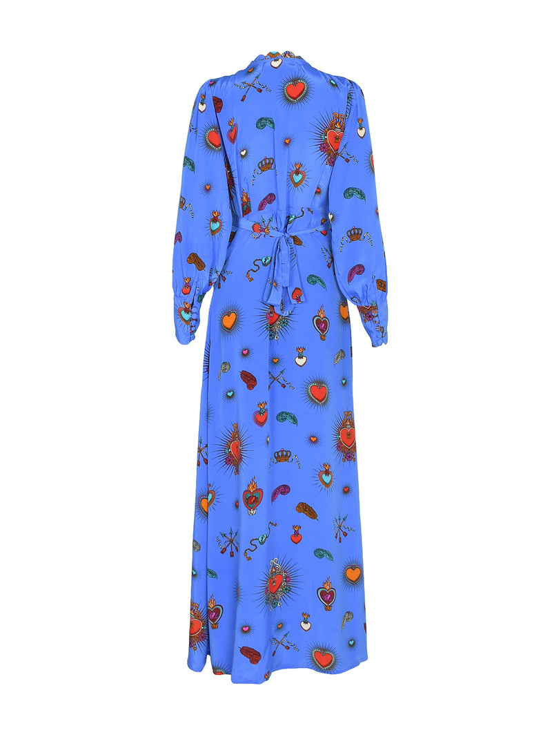 Scallop Heart Maxi Dress Cornflower Blue