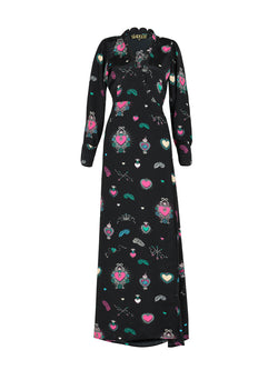 Scallop Heart Maxi Dress Black & Multicolour
