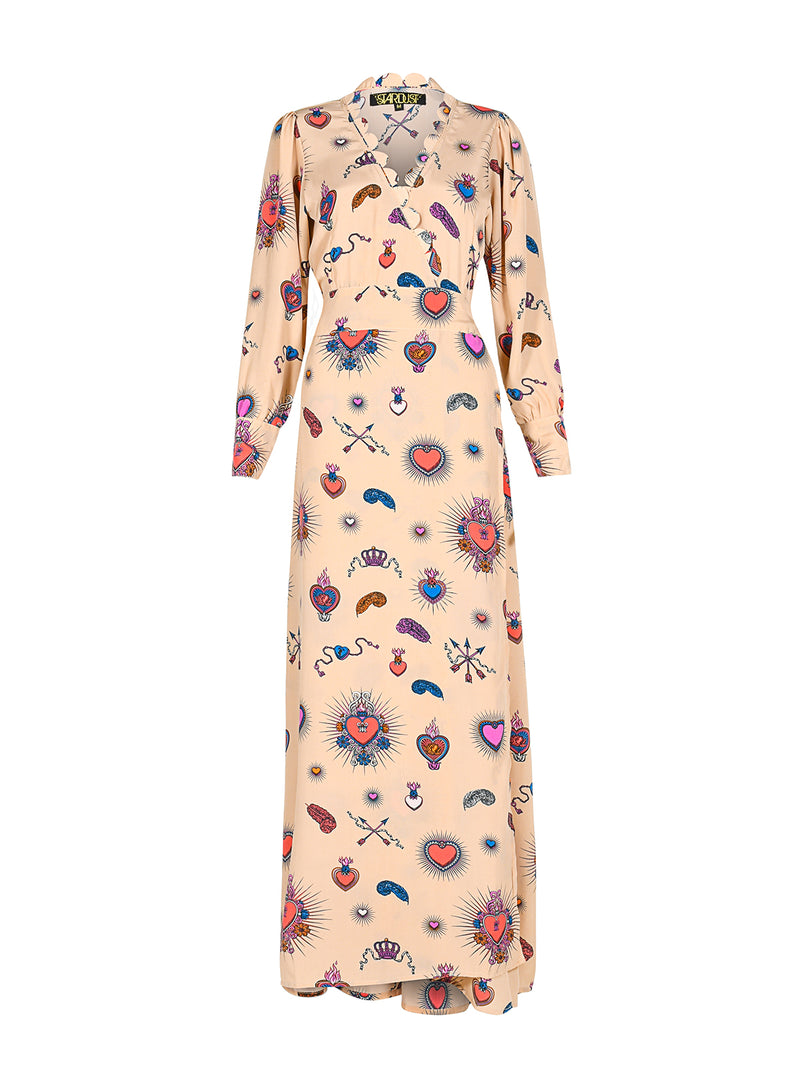 Scallop Heart Maxi Dress Beige