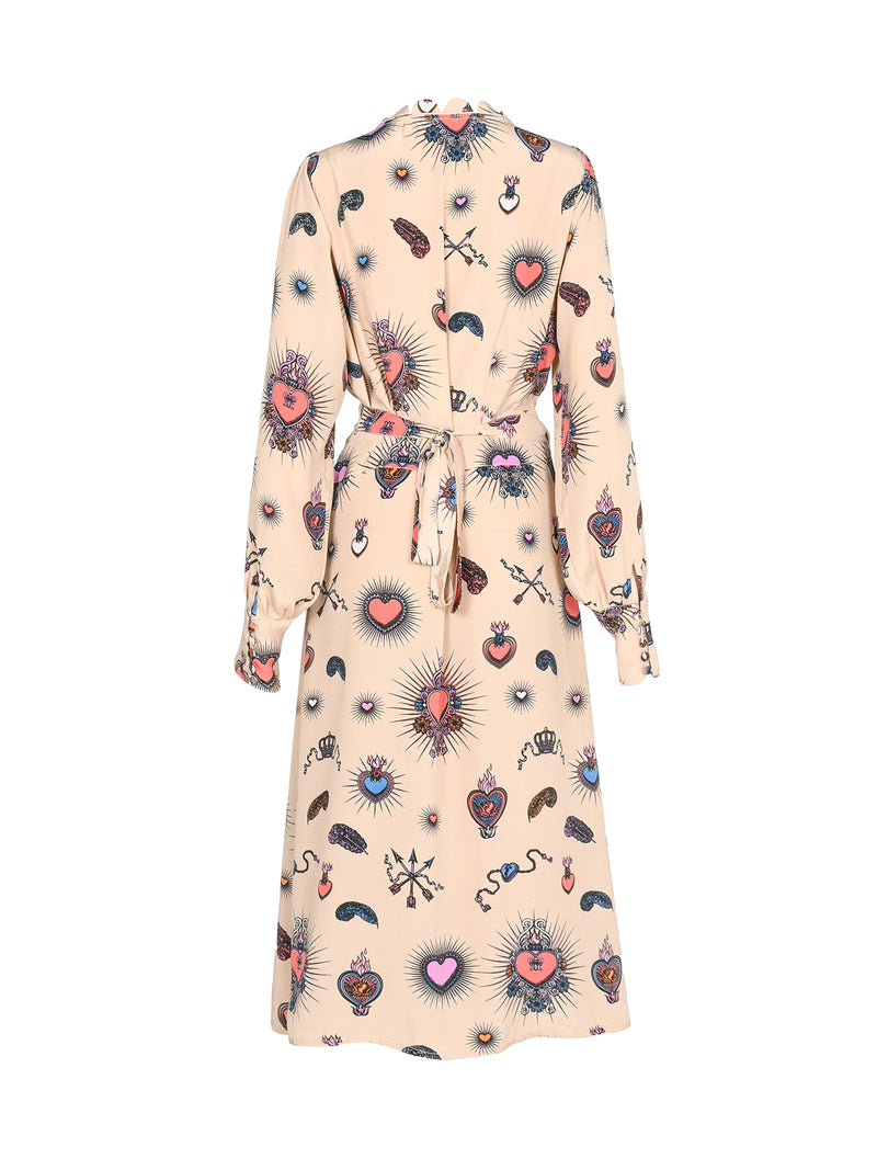 Scallop Heart Midi Dress Beige