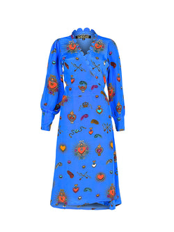 Scallop Heart Midi Dress Cornflower Blue
