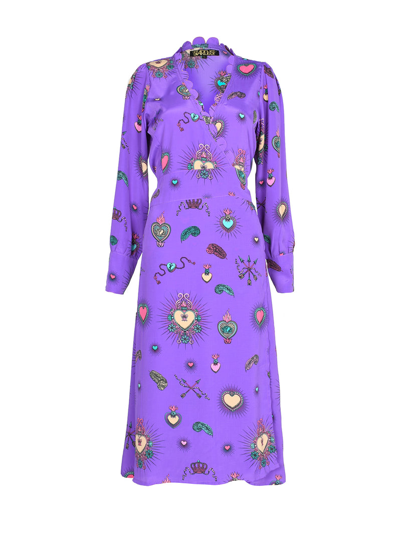 Scallop Heart Midi Dress Purple