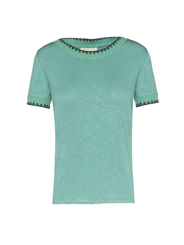 Lurex Detail Top Sea Green