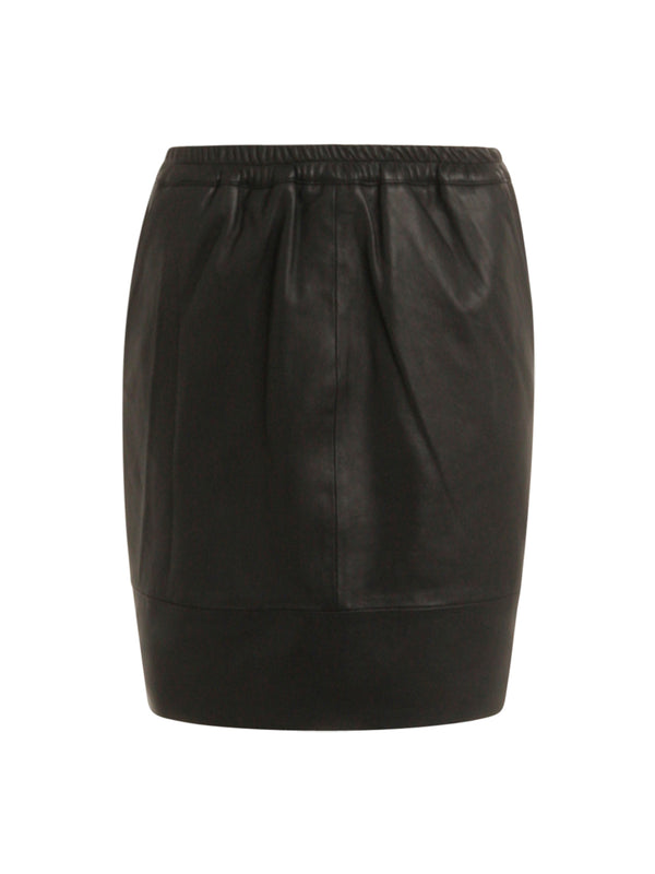 Elasticated Leather Skirt