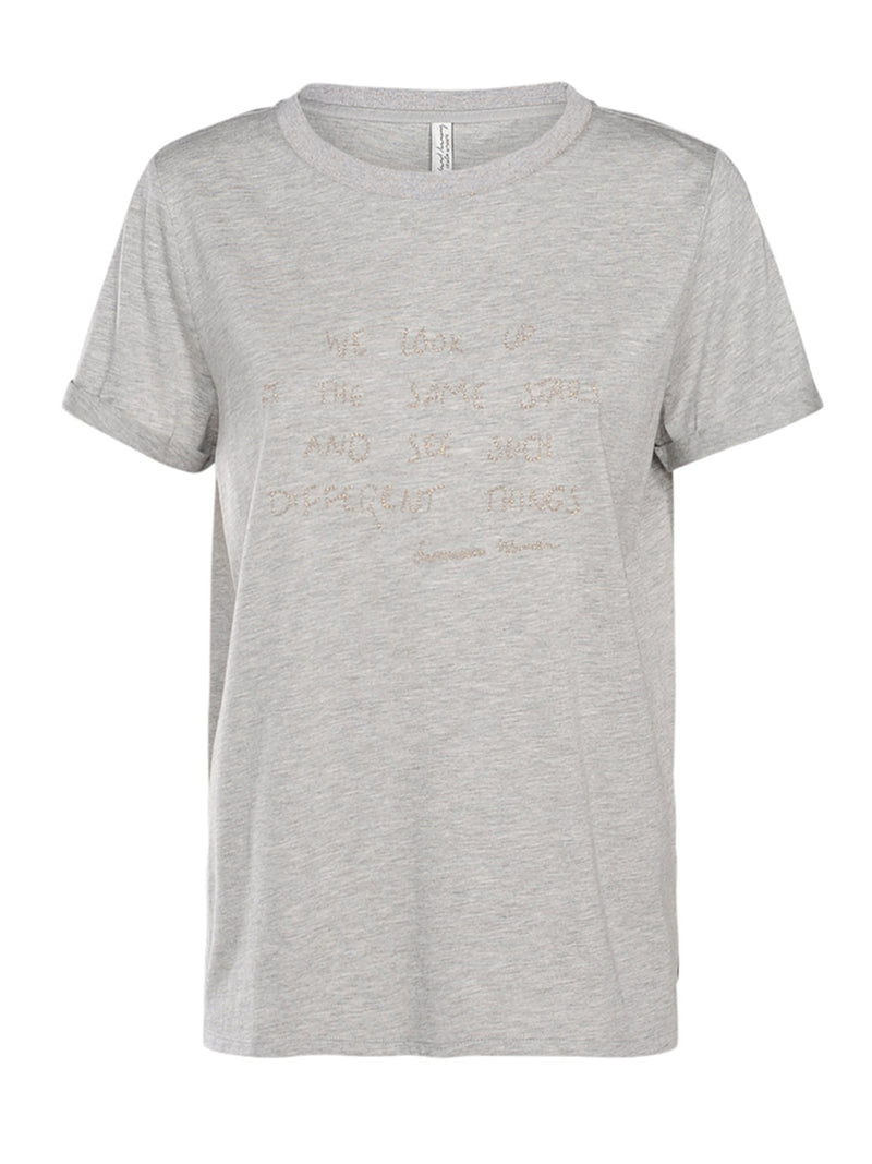 Grey Stars Embroidered Tee