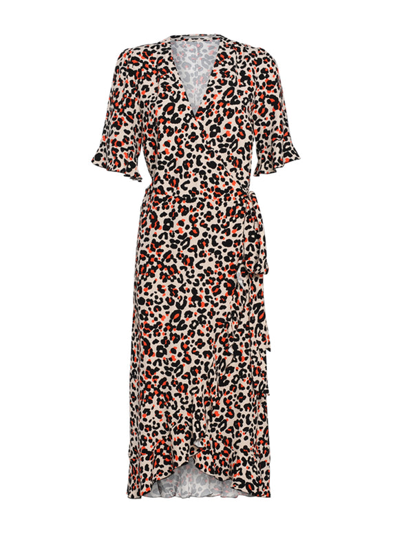 Papaya Leopard Wrap Dress